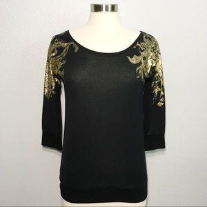 L.A.M.B. Gwen Stefani Long Sleeve Gold Print